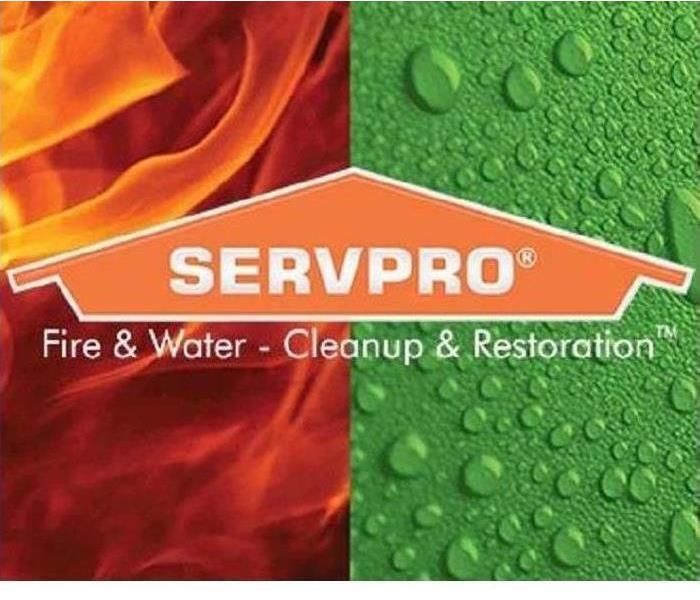 SERVPRO house logo with fire flames and water drops in the background