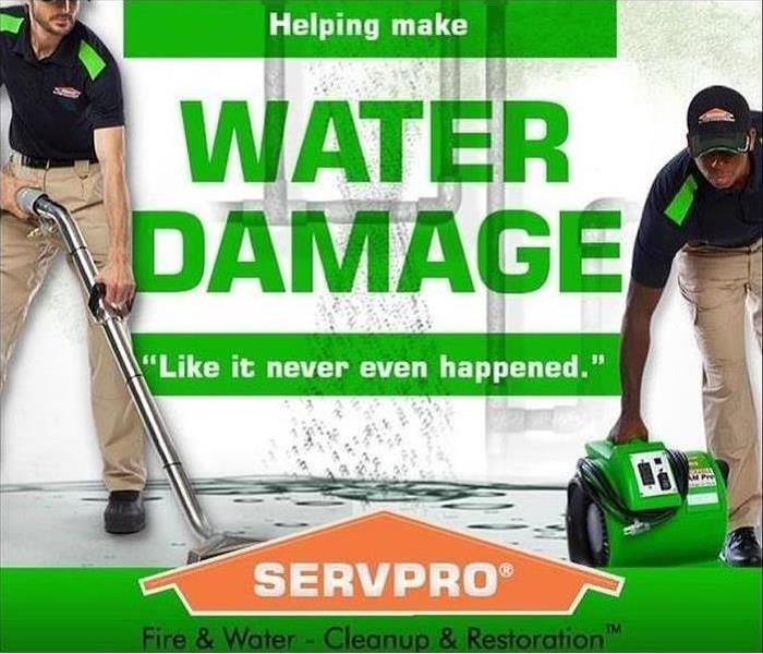 water damage photo with SERVPRO logo