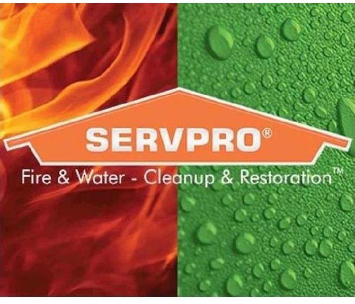 SERVPRO house logo with fire and water in the background